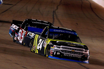 Justin Haley, GMS Racing, Chevrolet Silverado Fraternal Order Of Eagles and Harrison Burton, Kyle Busch Motorsports, Toyota Tundra DEX Imaging
