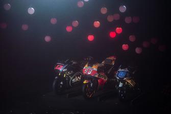 Bikes der Motorrad-Weltmeister 2018: Francesco Bagnaia (Moto2), Marc Marquez (MotoGP), Jorge Martin (Moto3)