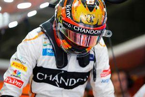 Stoffel Vandoorne, McLaren, enters his cockpit