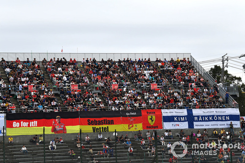 Ferrari fans and banners