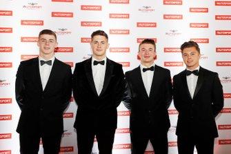 I candidati al McLaren Autosport BRDC Award Jamie Caroline, Tom Gamble, Max Fewtrell e Kiern Jewiss