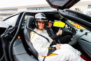 WWE Superstar Maryse Mizanin strapped in for a Pirelli Hot Lap experience