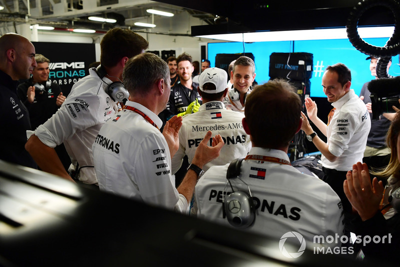 Lewis Hamilton, Mercedes AMG F1 celebrates in the garage