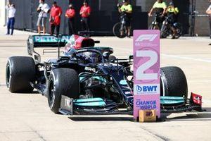 Lewis Hamilton, Mercedes W12, 2nd position, arrives in Parc Ferme