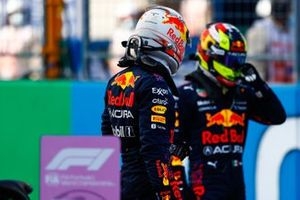 Pole man Max Verstappen, Red Bull Racing, and Sergio Perez, Red Bull Racing, in Parc Ferme after Qualifying
