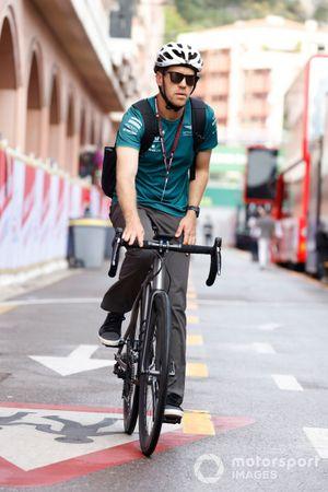 Sebastian Vettel, Aston Martin arriving at Monaco on bike