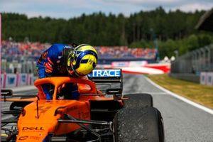 Lando Norris, McLaren, 3rd position, arrives in Parc Ferme