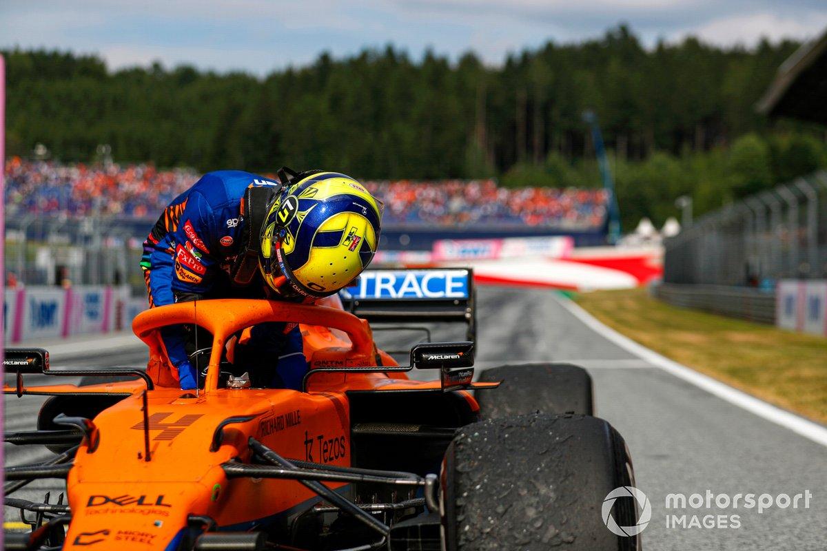 Tercer lugar Lando Norris, McLaren, en Parc Ferme