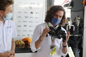 Fitness coach and TV presenter Joe Wicks visits the McLaren garage
