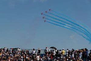 The RAF Aerobatics team, the Red Arrows, perform for the crowds in their BAE Systems Hawk T.Mk.1A's