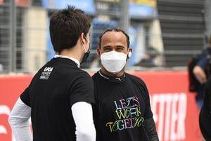 Lance Stroll, Aston Martin , with Lewis Hamilton, Mercedes