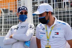 Tom Blomqvist, NIO 333, with Gary Paffett, Reserve, Development Driver, Sporting, Technical Advisor, Mercedes Benz EQ on the grid