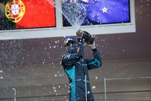 Mitch Evans, Jaguar Racing, sprays the champagne on the podium