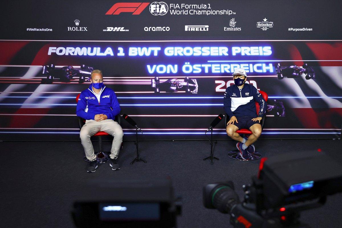 Nikita Mazepin, Haas F1, Yuki Tsunoda, AlphaTauri during the press conference