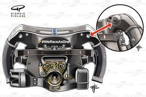 Detalle del protector del volante del Mercedes AMG F1 W12 en el GP de Francia