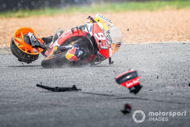 Bike of Marc Marquez, Repsol Honda Team, crashes