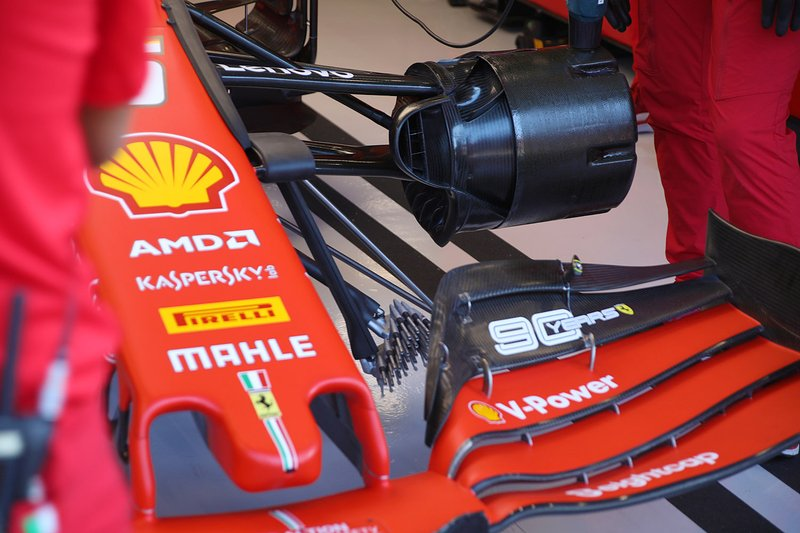 Sebastian Vettel, Ferrari SF90, dettaglio del cestello del freno anteriore