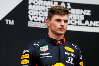 Max Verstappen, Red Bull Racing, 1st position, on the podium