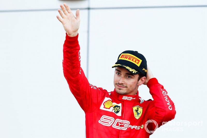 Podio: terzo classificato Charles Leclerc, Ferrari