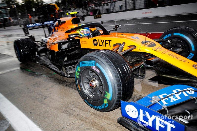 Lando Norris, McLaren MCL34, in the pit lane