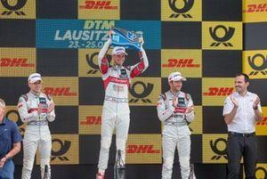 Podium: Le vainqueur Nico Müller, Audi Sport Team Abt Sportsline, le deuxième Robin Frijns, Audi Sport Team Abt Sportsline, le troisième Mike Rockenfeller, Audi Sport Team Phoenix