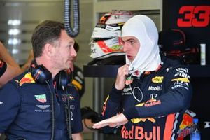 Max Verstappen, Red Bull Racing, talks with Christian Horner, Team Principal, Red Bull Racing