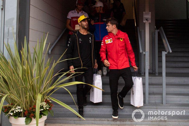 Daniel Ricciardo, Renault F1 Team e Charles Leclerc, Ferrari