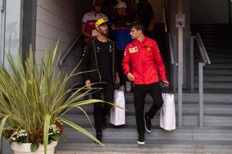 Daniel Ricciardo, Renault F1 Team and Charles Leclerc, Ferrari