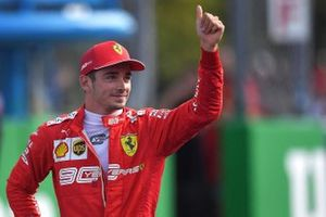 Pole man Charles Leclerc, Ferrari, celebrates
