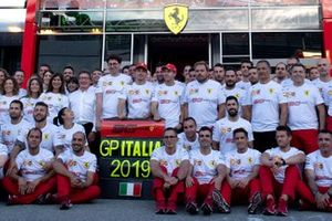Mattia Binotto, Team Principal Ferrari, Charles Leclerc, Ferrari, and Sebastian Vettel, Ferrari, join the Ferrari team in celebrating their 90th anniversary