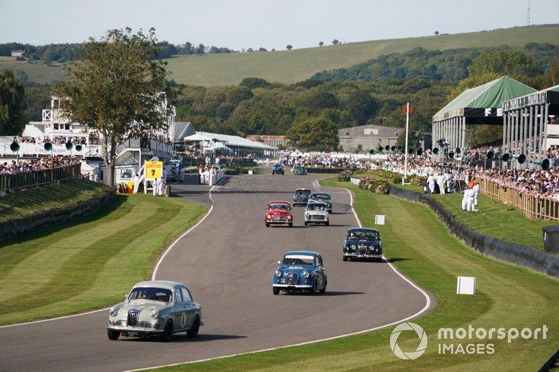 Mat Jackson, Riley 1.5, Marino Franchitti, Austin A35, Stuart Graham, Jaguar Mk1, and John Cleland, Volvo PV544S, in the St. Mary's Trophy Part 1