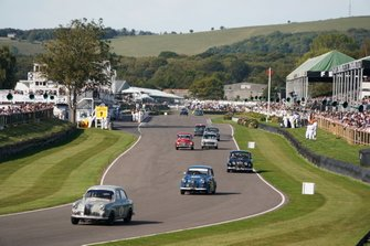 Mat Jackson, Riley 1.5, Marino Franchitti, Austin A35, Stuart Graham, Jaguar Mk1, and John Cleland, Volvo PV544S, in the St. Mary's Trophy Part 1