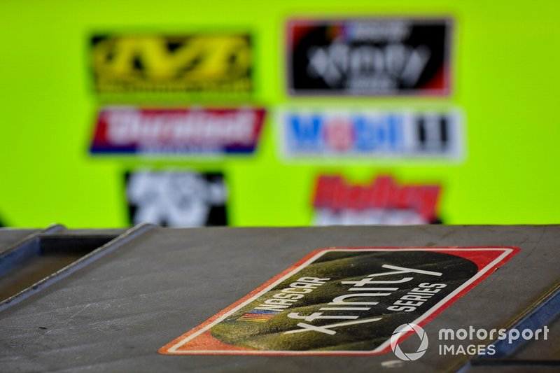 Xfinity decal, Brandon Jones, Joe Gibbs Racing, Toyota Supra Menards/Swiffer