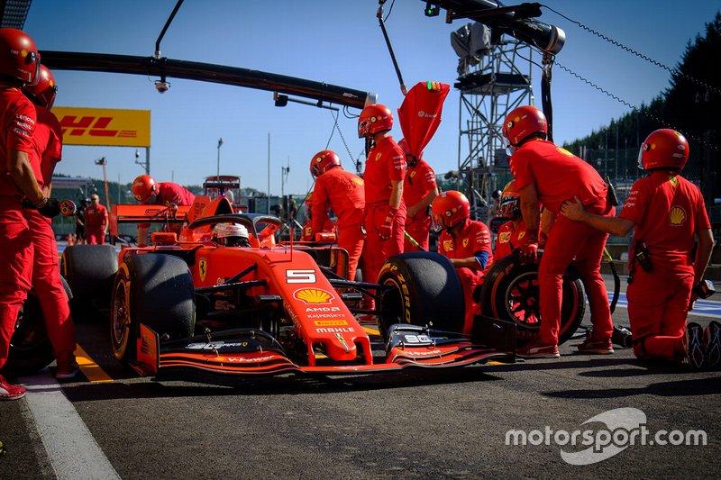Sebastian Vettel, Ferrari SF90, pitstop