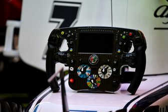The steering wheel from the Alfa Romeo Racing C38