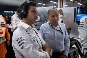 Toto Wolff, Executive Director (Business), Mercedes AMG, watches Qualifying with Jean Todt, President, FIA
