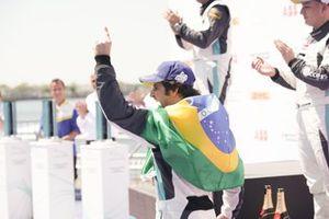 Sérgio Jimenez, Jaguar Brazil Racing celebrates on the podium