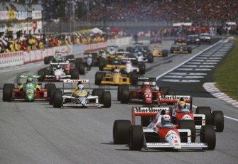 Alain Prost, McLaren e Ayrton Senna, McLaren, al GP di San Marino del 1989