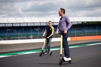 Nico Hulkenberg, Renault F1 Team walks the track on a scooter