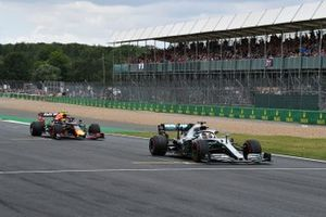 Lewis Hamilton, Mercedes AMG F1 W10, leads Pierre Gasly, Red Bull Racing RB15