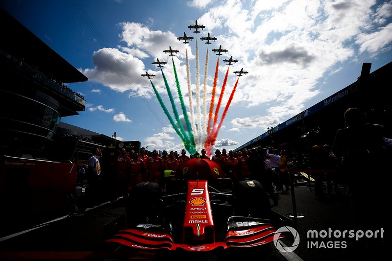 Flypast over the car of Sebastian Vettel, Ferrari SF90