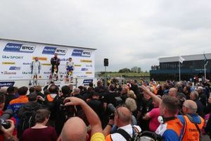 Podium, Ashley Sutton, Team BMR Subaru Levorg, Josh Cook, BTC Racing Honda Civic and Rory Butcher, AmD Tuning Honda Civic