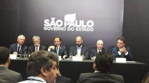 João Dória e Bruno Covas em coletiva sobre permanência da F1 em São Paulo