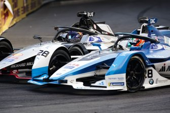 Antonio Felix da Costa, BMW I Andretti Motorsports, BMW iFE.18 passes Sébastien Buemi, Nissan e.Dams, Nissan IMO1 during attack mode