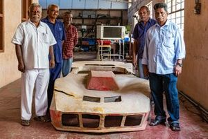 The mechanics who worked closely with Karivardhan pose with the fiber glass body of Kari's Formula Indian car - K Kumar, Veeran, Manohar, PK Kumar, Chandran