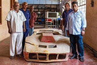 The mechanics who worked closely with Karivardhan pose with the fiber glass body of Kari's Formula Indian car - K Kumar, Veeran, Manohar, PK Kumar, Chandran