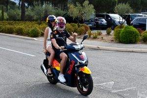 Pierre Gasly, Red Bull Racing arrives with his girlfriend Caterina Masetti Zannini on his moped