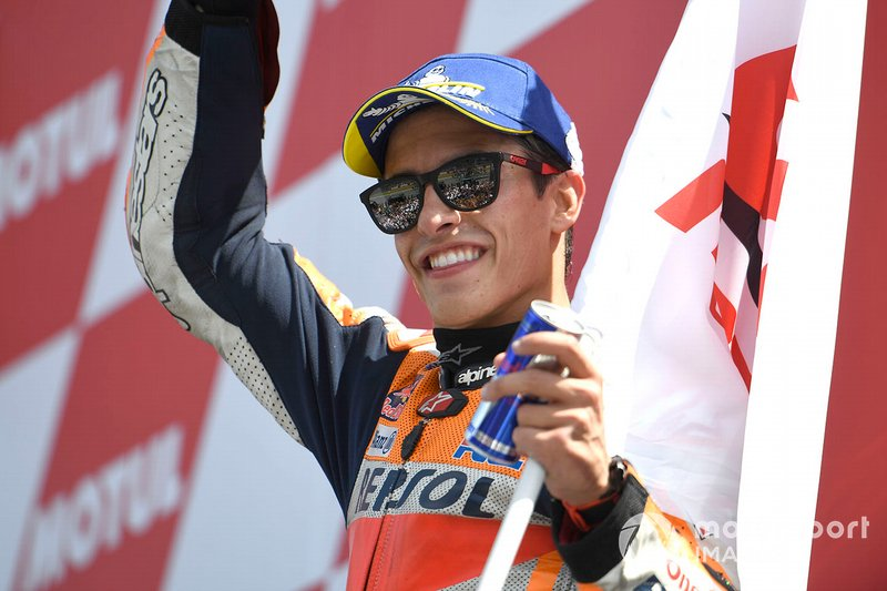 Podio: il secondo classificato Marc Marquez, Repsol Honda Team