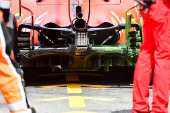 Flo-viz paint on the rear of the Ferrari SF90