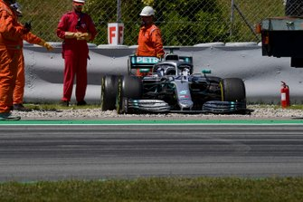 Car of Nikita Mazepin, private tester, Mercedes AMG F1 in the gravel after stopping on track